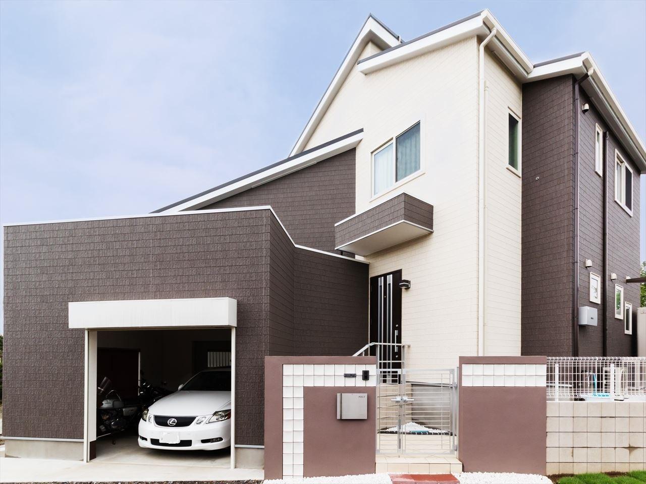 茨城県常総市I様 不二建設 高性能住宅 注文住宅 スキップフロア ガレージ 外観 モダン