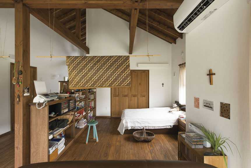 茨城県石岡市S様 不二建設 平屋 自然素材 ドライウォール ワンルーム 寝室 杉板