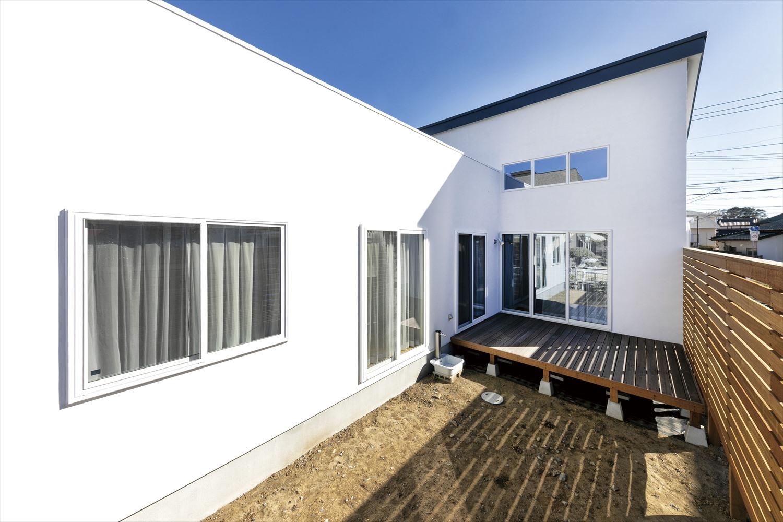 茨城のシンプルモダンのおしゃれな平屋の建築実例 白のシャープなシルエットが魅力