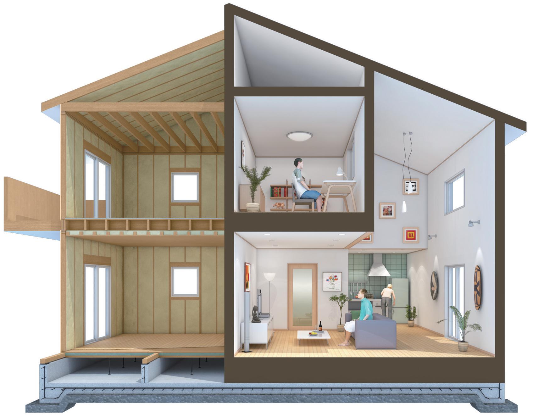 高気密高断熱性能の家の断面図