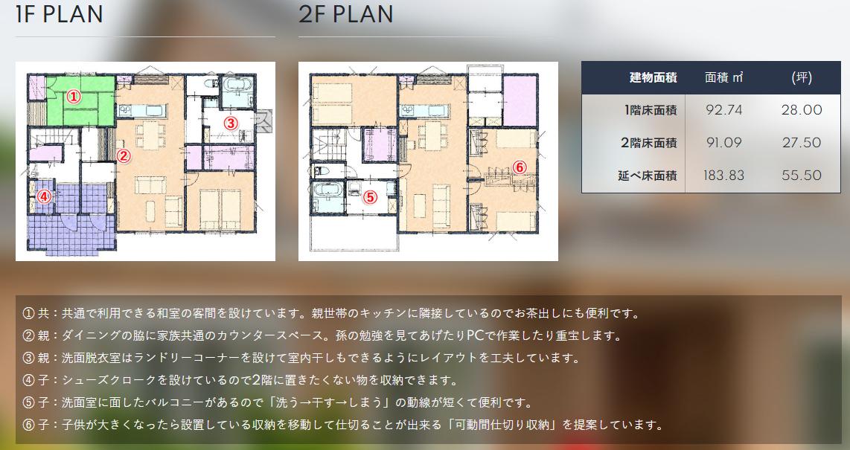 完全分離型(独立型)の二世帯住宅の間取り図:50~55坪の場合