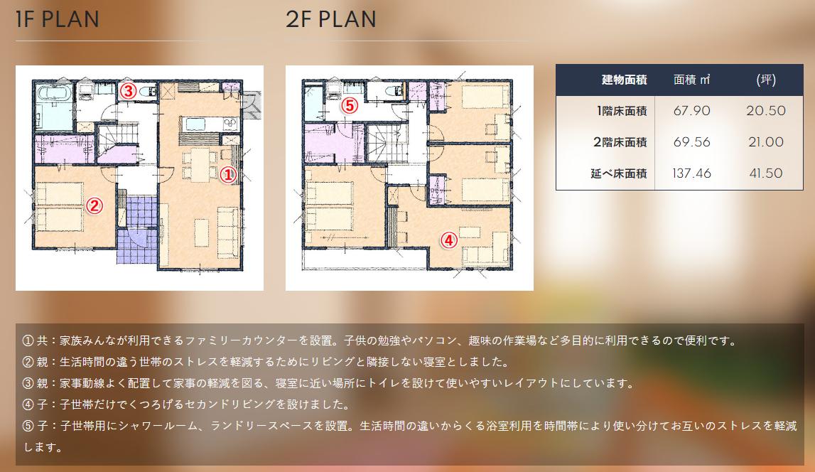 水回り共有型(一部共有型)の40~41坪の二世帯住宅の間取り図