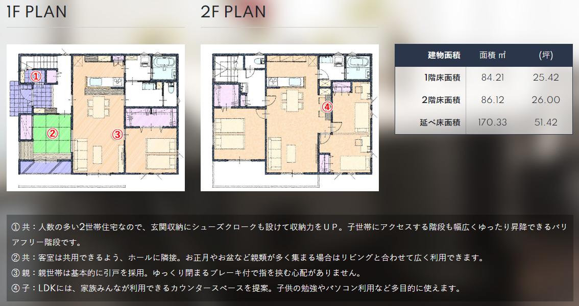 玄関共有型(一部共有型)の二世帯住宅の間取り図:50~51坪の場合