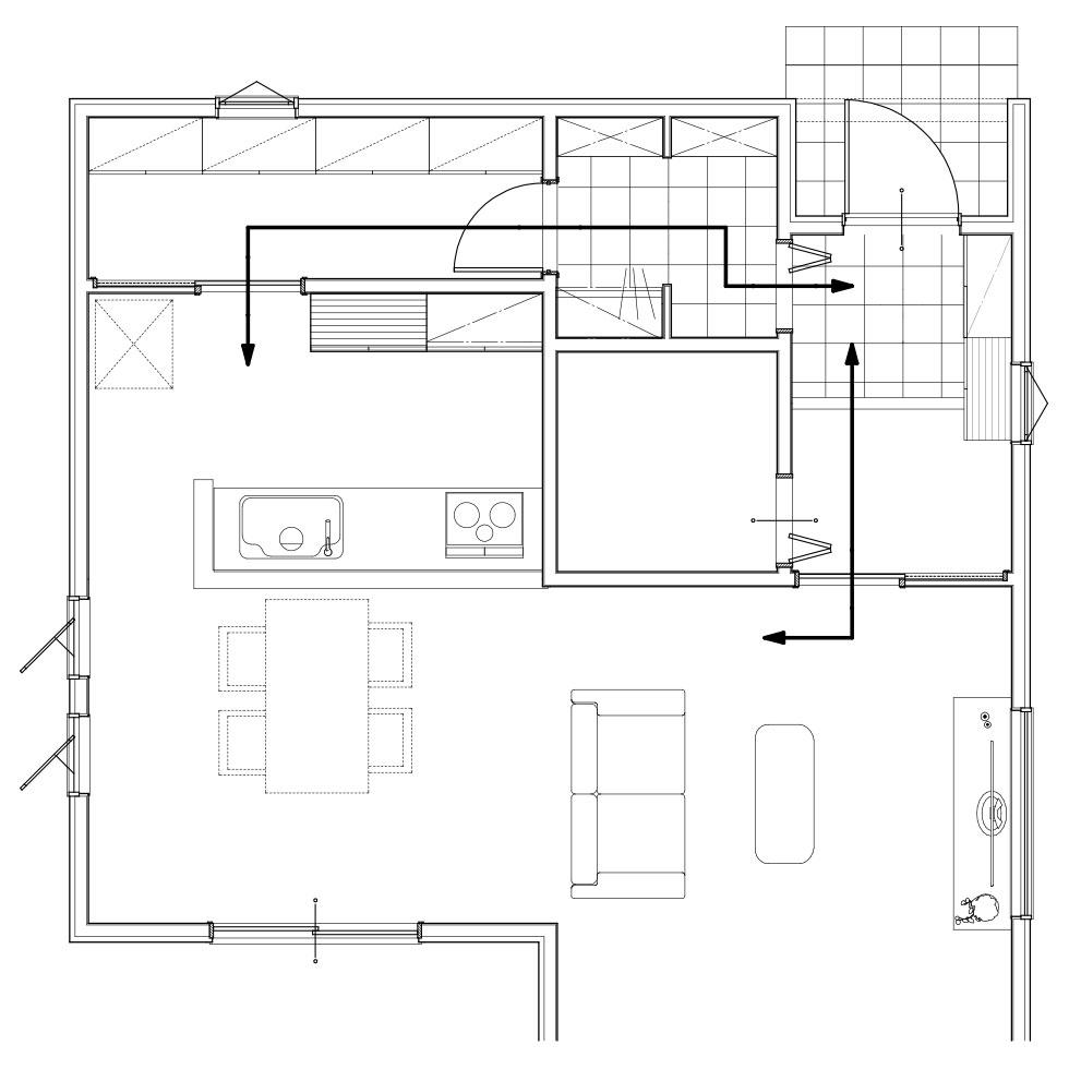 玄関からキッチンまでの動線
