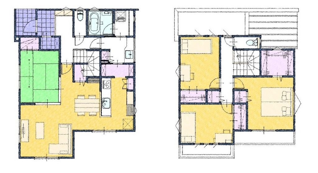 家事動線のいい収納が適材適所にある間取り図35坪