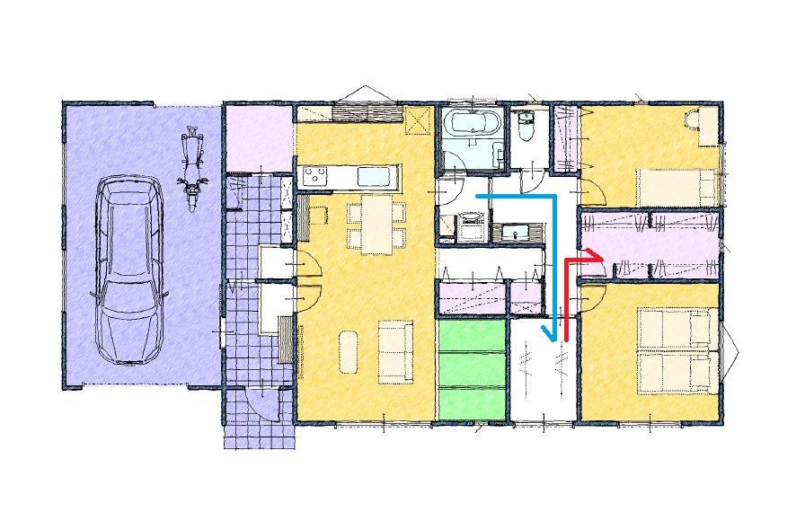 ランドリールームとファミリークロゼットのある間取り40坪 ガレージハウス 平屋