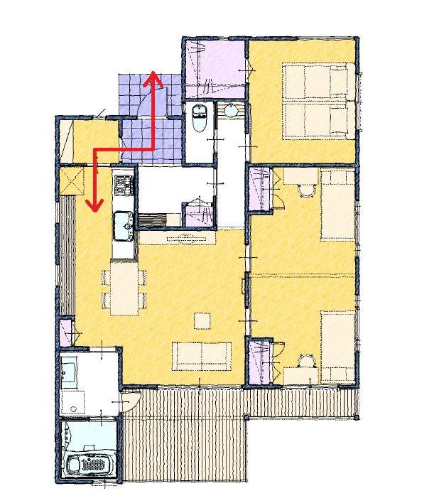 玄関からキッチンまでの動線が近いパントリーのある間取り25坪