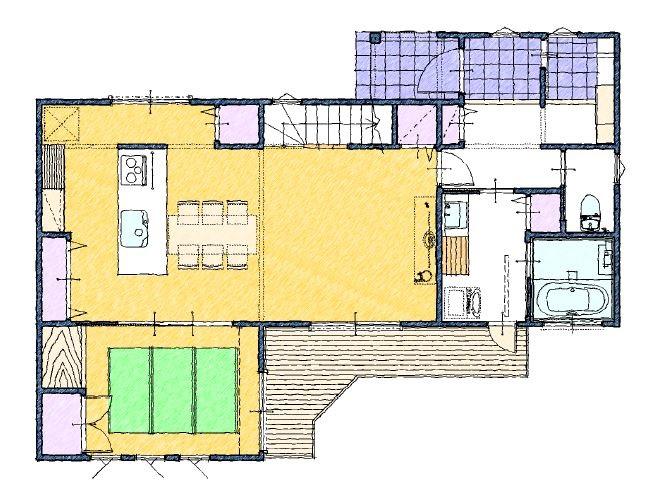 家事動線のいい家の間取り図